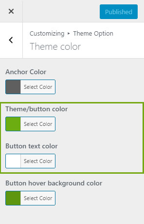 button background and text color